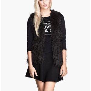 H&M Black Shaggy Fur Vest